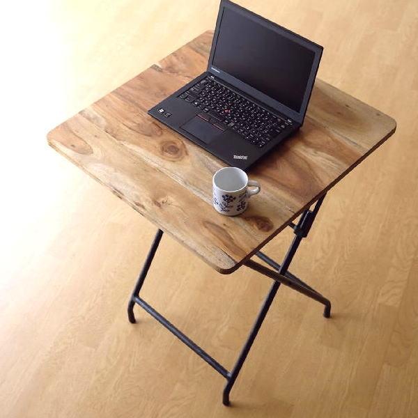 コンパクトテーブル 木製 60×60cm リビングテーブル コーヒーテーブル アイアンとウッドの折りたたみテーブル 【送料無料】 [spc4550]