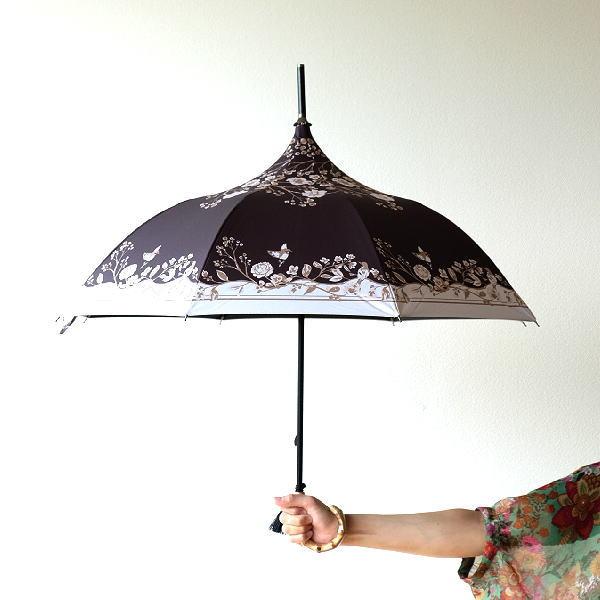 晴雨兼用傘 長傘 日傘 パゴダ傘 UVカット 黒 遮光 遮熱 竹 バンブー ハンドル 持ち手 女性 レディース 晴雨兼用アンブレラ パゴダB [spc5363]