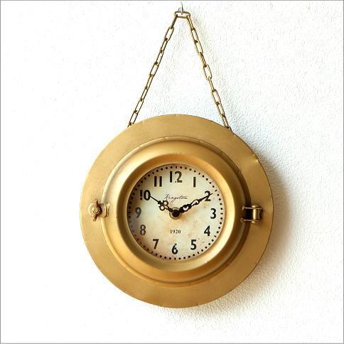 掛け時計 アンティーク レトロ ゴールド おしゃれ ウォールクロック アイアン シャビーシック アンティークなハンギングクロック
