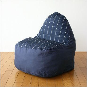 【セール】クッションソファー ソファ かわいい 防水加工 座椅子 ローソファー ポップソファー ネイビーチェック【送料無料】