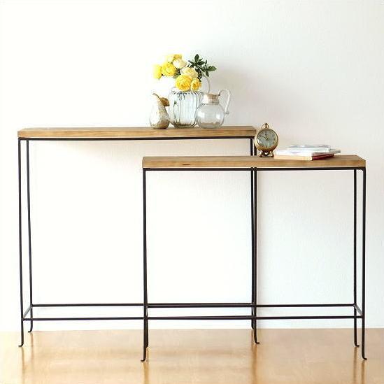コンソールテーブル セット スリム 木製 アイアン シンプル おしゃれ ナチュラル コンソールテーブル 2サイズセット【送料無料】