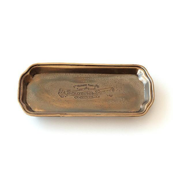 トレー トレイ 真鍮 ブラス アンティーク レトロ ペントレイ アクセサリートレイ ヴィンテージ風 ブラスロングトレイ [spc7086]