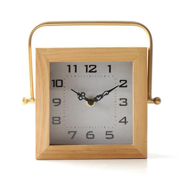 置き時計 置時計 おしゃれ 木製 日本製 手作り かわいい 卓上 時計 クロック ウッド インテリア ハンドル付き置時計 [spc7459]