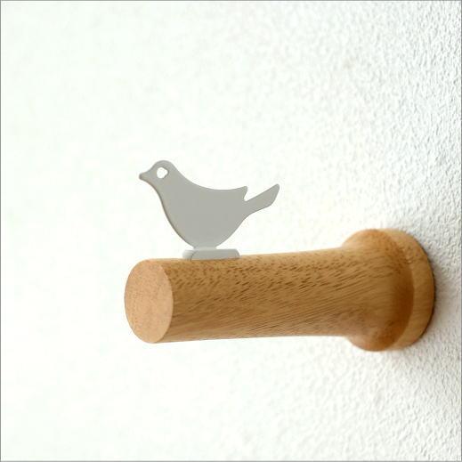 フック 壁掛けフック 木製 おしゃれ かわいい ウォールフック ナチュラル 鳥 雑貨 コートフック 帽子掛け ウッドウォールフック バード