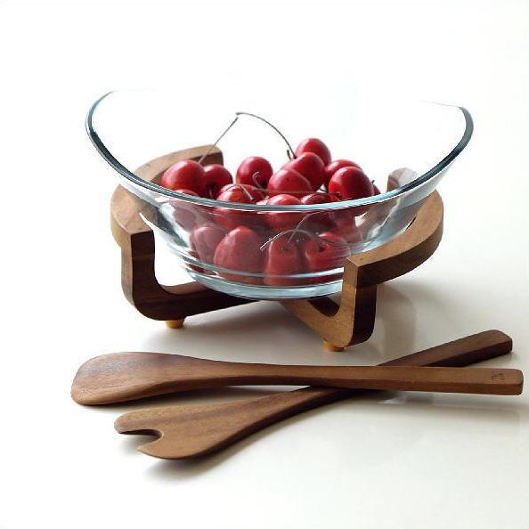 サービングセット 天然木 木製 アカシア ガラス 食卓 キッチン 料理 道具 ガラスボウル&サービングセット [spc7639]