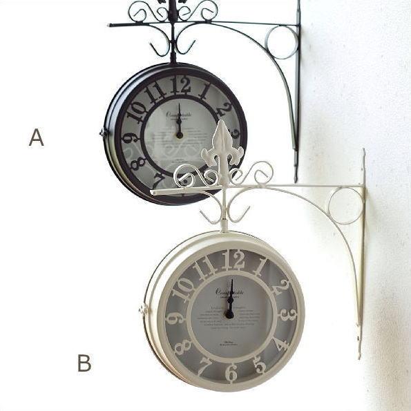 両面時計 アンティーク クラシック レトロ ウォールクロック かわいい おしゃれ ヨーロピアン エレガント 壁掛両面時計 2カラー [spc7757]