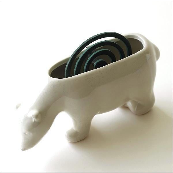 陶器の蚊遣り 白クマ