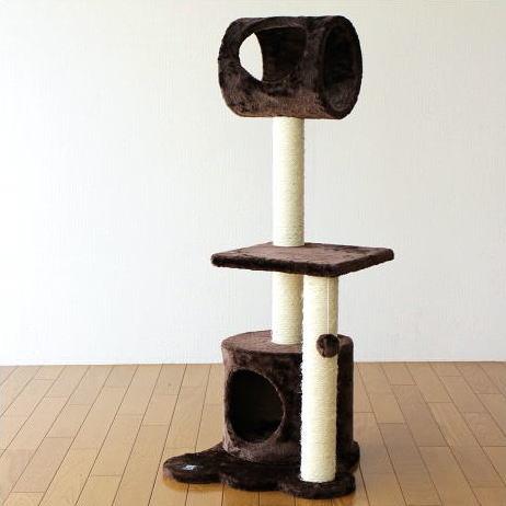 キャットタワー 置き型 猫 ねこ ネコ おもちゃ 猫タワー 爪とぎ キャットトンネル キャットツリー ブラウン 【送料無料】 [spc7981]