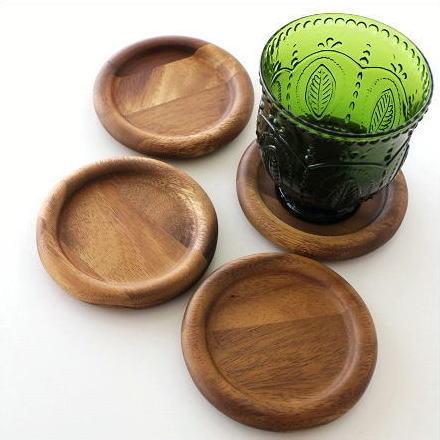 コースター 木製 シンプル おしゃれ 丸型 円形 ウッドコースター サークル4個セット [spc8159]
