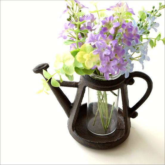 フラワーベース ガラス 花瓶 一輪挿し アイアン 鉄製 可愛い おしゃれ 花挿し 花入れ デザイン 小さい ミニ アンティーク レトロ アイアンポットのミニベース