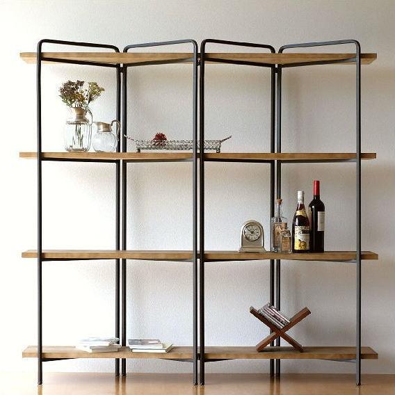 飾り棚 シンプル ディスプレイラック おしゃれ 木製 オープンシェルフ アイアンとウッドのワイド4段シェルフ【送料無料】