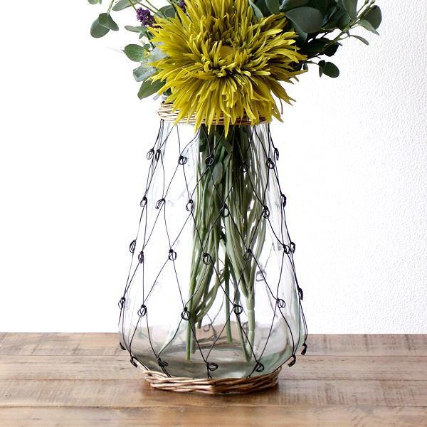フラワーベース ガラス おしゃれ 花瓶 クリア 透明 大きい ワイヤー 柳 花器 インテリア ワイヤーデコフラワーベース [spc9942]