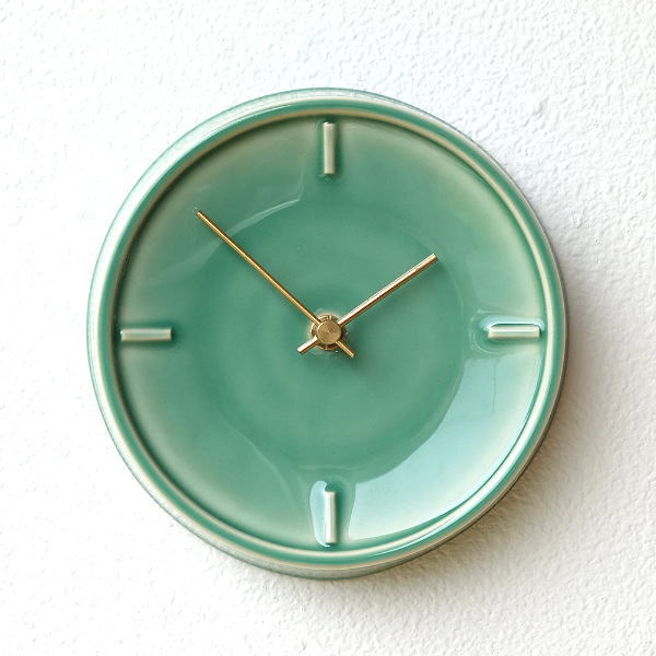 壁掛け時計 掛け時計 陶器 おしゃれ かわいい シンプル ウォールクロック 美濃焼 日本製 陶器のサークル掛け時計 B [ssk5290]