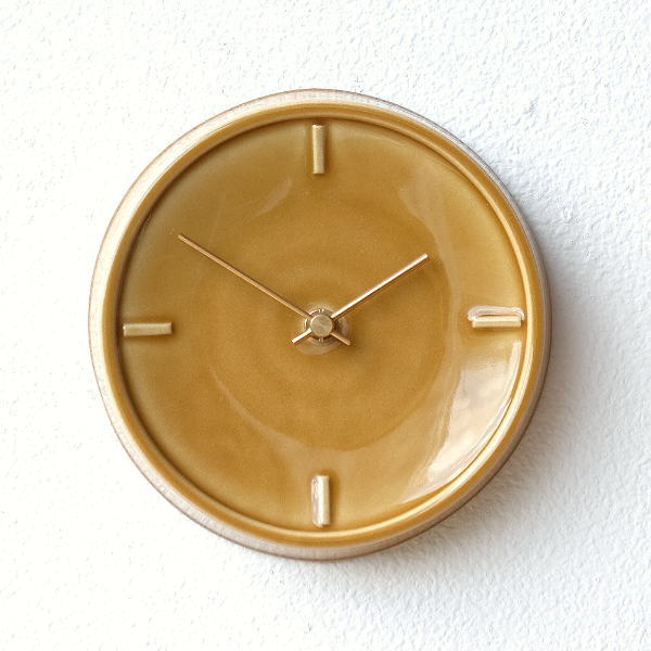 壁掛け時計 掛け時計 陶器 おしゃれ かわいい シンプル ウォールクロック 美濃焼 日本製 陶器のサークル掛け時計 D [ssk7313]