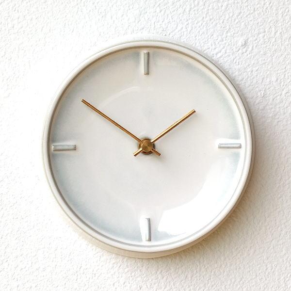 壁掛け時計 掛け時計 陶器 おしゃれ かわいい シンプル ウォールクロック 美濃焼 日本製 陶器のサークル掛け時計 E [ssk8145]