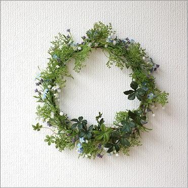 フェイクグリーンの壁飾り 忘れな草のリース [swa1212]
