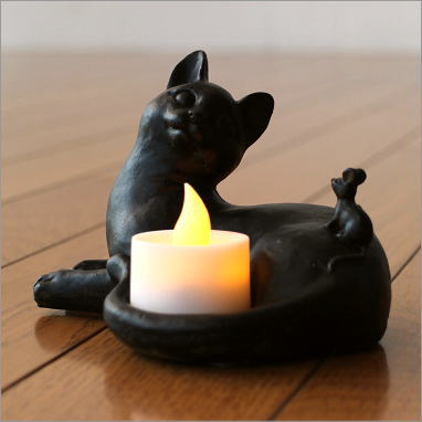 猫 ねこ 雑貨 置物 置き物 オブジェ ネコのLEDキャンドルホルダー