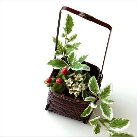 花入れ 和風 竹かご 竹筒 花挿し 花器 和風 竹籠花入れ 四角