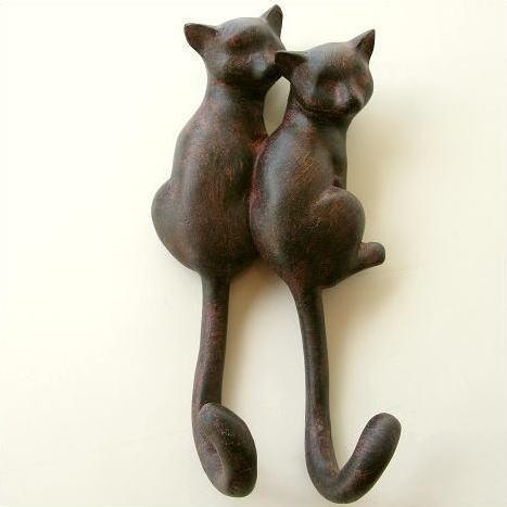 フック 壁 壁掛けフック ウォールフック おしゃれ 猫 雑貨 グッズ 鍵かけ 玄関 収納 ウォールハンガー 壁掛け インテリア ウォールデコ ペアネコのフック