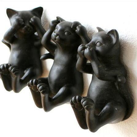 ネコ ねこ 猫 雑貨 オブジェ 壁掛けフック 壁掛け インテリア ウォールデコ 三様ネコフック 3個セット