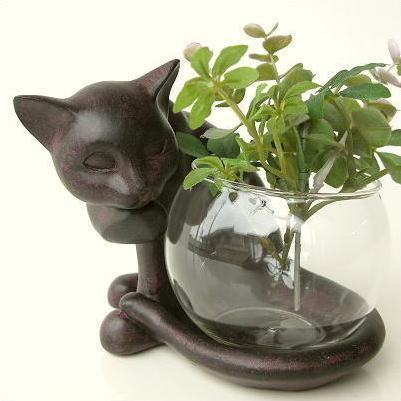 花瓶 ガラス フラワーベース 猫 オブジェ 子ネコのミニベース しっぽネコ