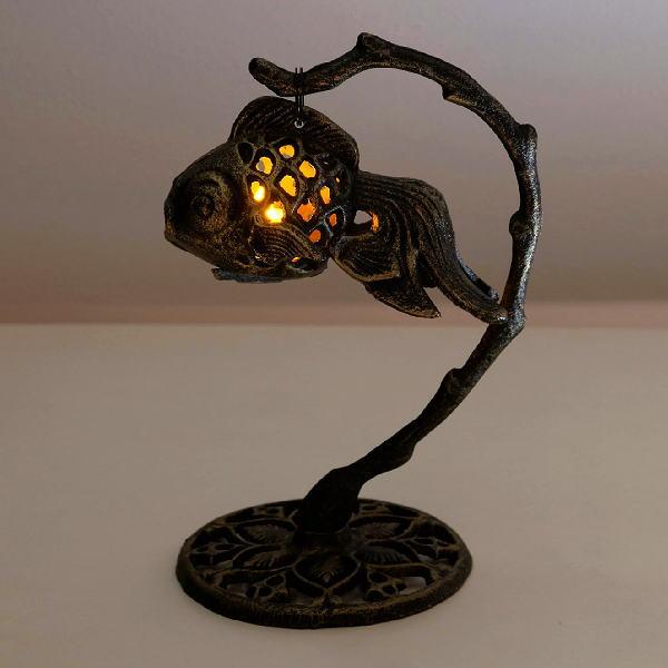 ランタン おしゃれ キャンドル LED 金魚 アイアン 置物 オブジェ キャンドルスタンド LED付きアイアン金魚のランタン [swa2778]