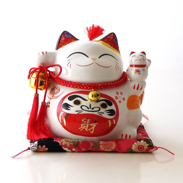 招き猫 貯金箱 置物 オブジェ ネコ 陶器 かわいい インテリア ビッグな招き猫の貯金箱 達磨 [swa3789]