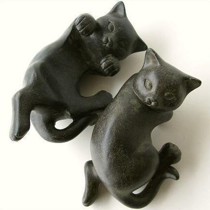 猫 置物 雑貨 アジアン雑貨 やんちゃな2匹の子ネコ