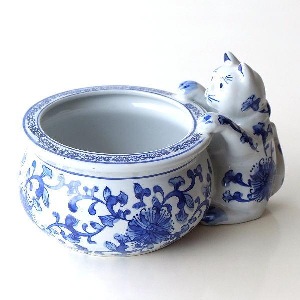 陶器の猫付き鉢ポット [swa7775]
