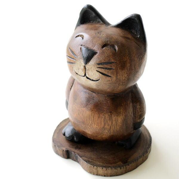 置物 オブジェ ネコ 猫 木彫り かわいい 可愛い 木製 天然木 木工 ねこ インテリア 小物 雑貨 木彫りの置物 お散歩ネコ [tom0662]