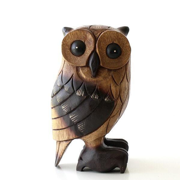 ふくろう 置物 木彫り オブジェ 木製 おしゃれ インテリア 木彫りのオブジェ フクロウL [tom0675]