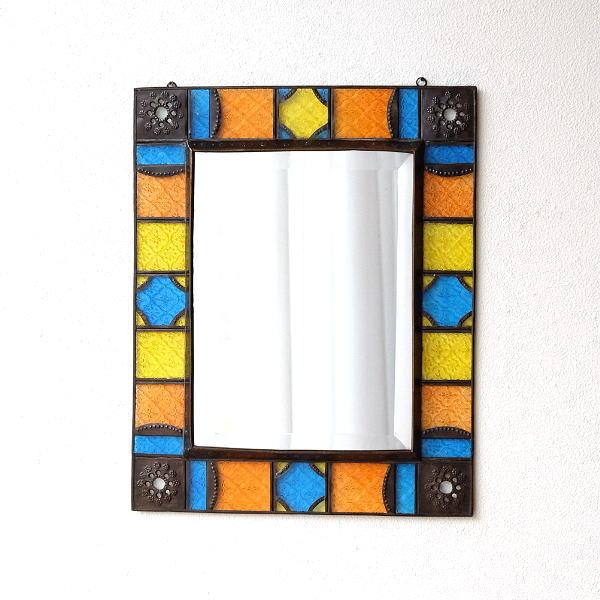 エキゾチックなガラスモザイクミラー 【送料無料】 [tom1392]