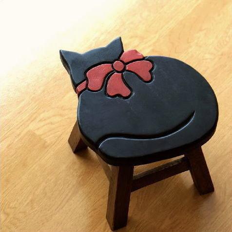 子供椅子 黒ネコさん [tom1519]