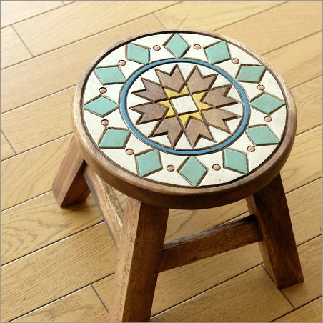 スツール 木製 椅子 いす イス ミニスツール 玄関 花台 ミニテーブル ウッドチェア おしゃれ 子供椅子 モザイク