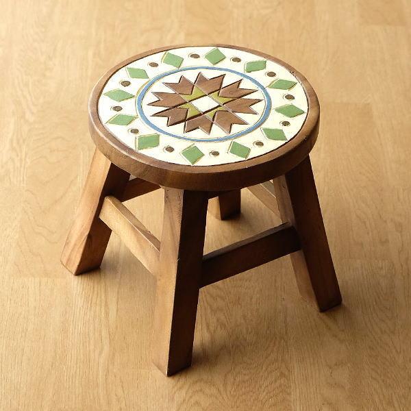 スツール 木製 椅子 ミニスツール 玄関 花台 ミニテーブル ウッドチェア おしゃれ 子供椅子 モザイク [tom1524]