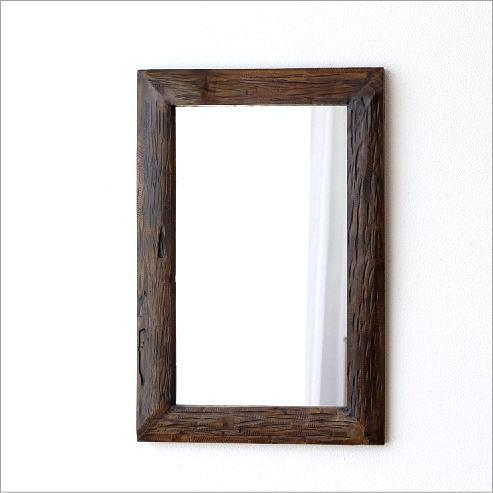 鏡 壁掛けミラー 木製 古木のウォールミラー