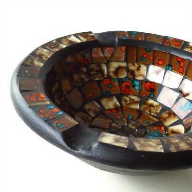 灰皿 おしゃれ ガラス 卓上 小物入れ アクセサリー入れ モザイク灰皿 [tom1582]