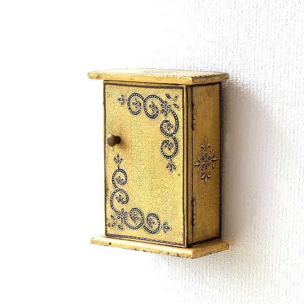 キーボックス 壁掛け おしゃれ 木製 天然木 玄関 レトロ かわいい アンティーク 鍵収納 鍵掛け スリム コンパクト レトロなウッドキーボックス [tom2509]