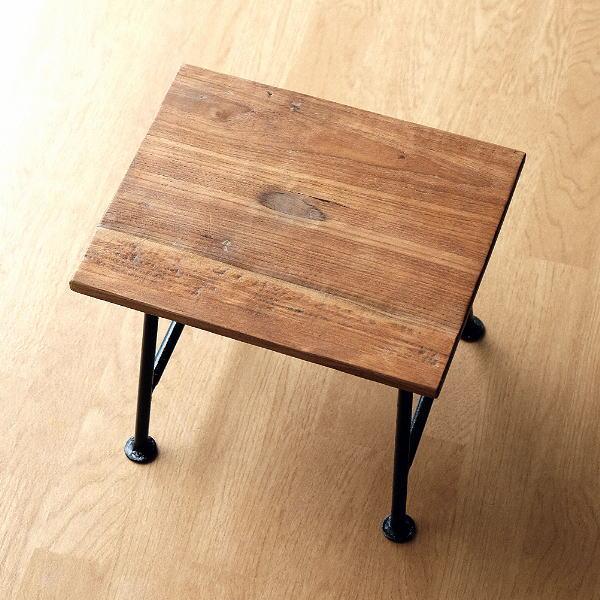 スツール 木製 アイアン コンパクト 玄関 椅子 花台 天然木 木目 リサイクルウッドとアイアンのスツール [tom4383]