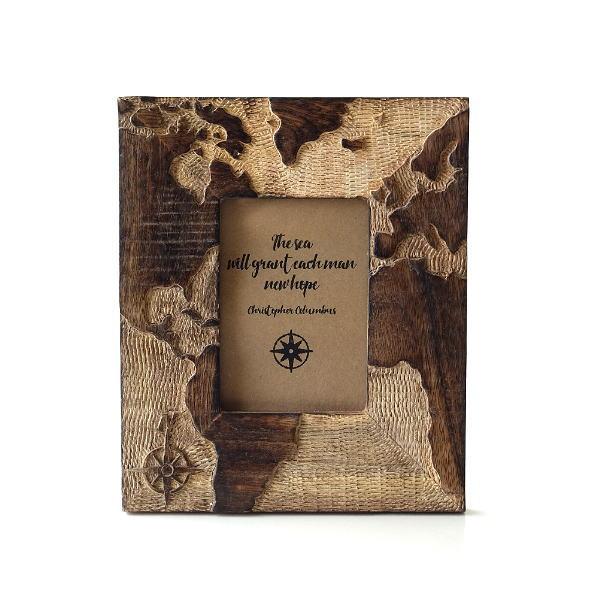 フォトフレーム 木製 おしゃれ 写真立て L判 地図 彫刻 木彫り 天然木 ウッドフォトフレーム マップ [tom4498]