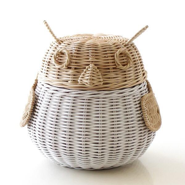 ラタン バスケット かご 収納 ふた付き 蓋つき 小物入れ 編み ふくろう 雑貨 ラタンフクロウバスケット WH [tom5574]