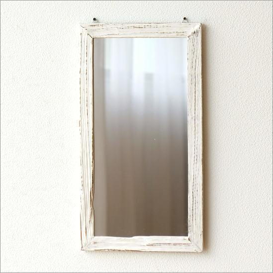鏡 壁掛けミラー ウォールミラー 木製 角型 おしゃれ アンティークホワイトのウッドミラー