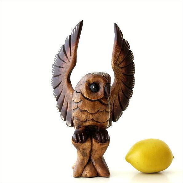 ふくろう 置物 木彫り 木製 ウッド オブジェ インテリア 木彫フクロウB [tom7225]