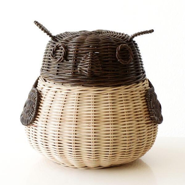 ラタン バスケット かご 収納 ふた付き 蓋つき 小物入れ 編み ふくろう 雑貨 ラタンフクロウバスケット BR [tom7350]
