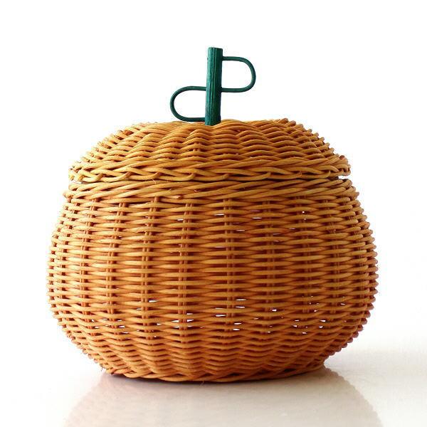 ラタン バスケット かご 収納 ふた付き 蓋つき 小物入れ 編み かぼちゃ ラタンパンプキンバスケット [tom8458]