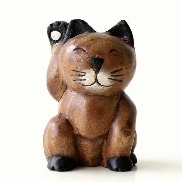 置物 オブジェ ネコ 猫 木彫り かわいい 可愛い 木製 天然木 木工 ねこ インテリア 小物 雑貨 木彫りの置物 招き猫 [tom9247]