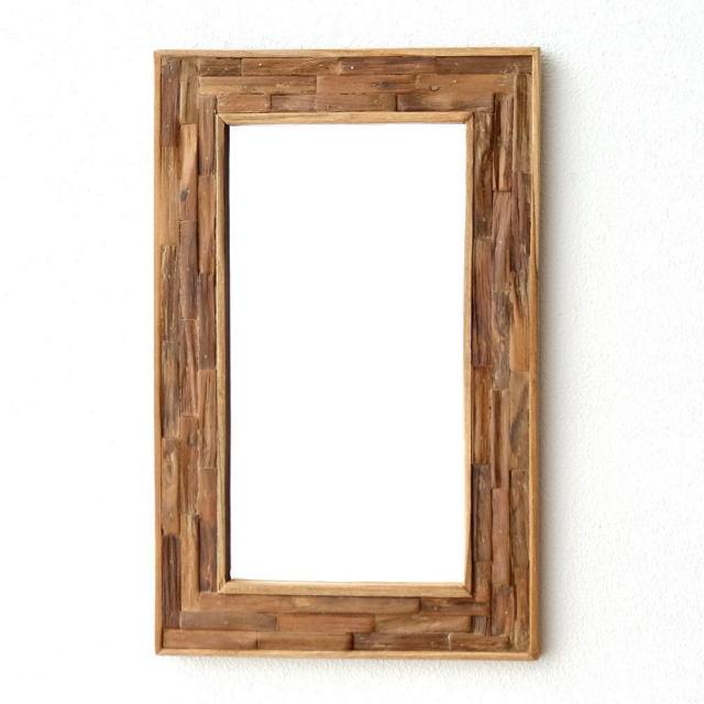 鏡 壁掛けミラー ウッド 木製 ウォールミラー 壁掛け組み木ミラー M [tom9559]