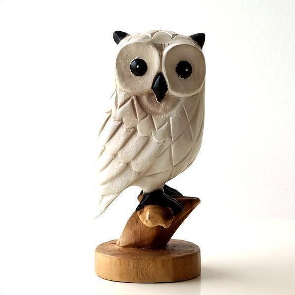 ふくろう 置物 木彫り アジアン雑貨 ウッドホワイトフクロウ