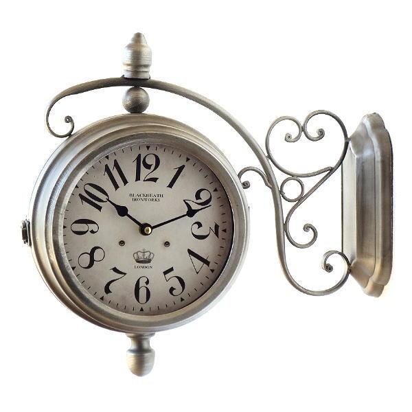両面時計 おしゃれ 掛け時計 アンティーク レトロ クラシック ヨーロピアン 北欧 カフェ インテリア デザイン かっこいい ウォールクロック 両面 [toy0872]