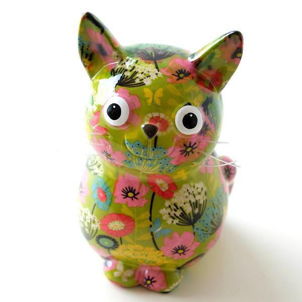 貯金箱 かわいい おしゃれ 陶器 ねこ 猫 可愛い 動物 アニマル インテリア オブジェ 置物 陶器のカラフル貯金箱 おすわりネコ [toy0917]